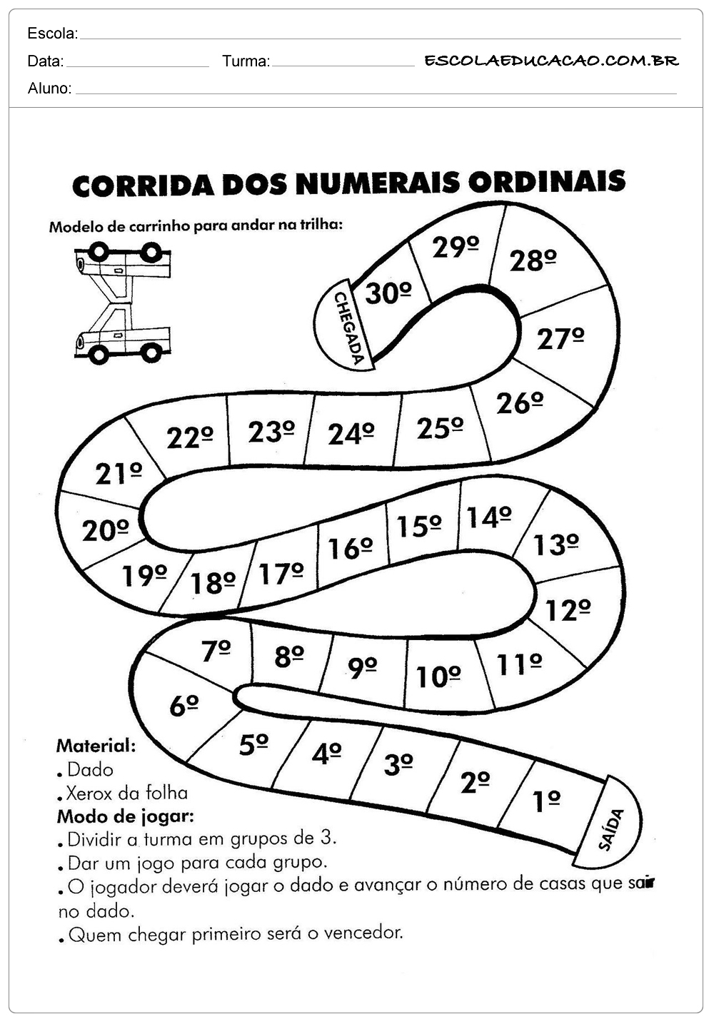 Atividades números ordinais 2º ano do ensino fundamental – Corrida dos números ordinais