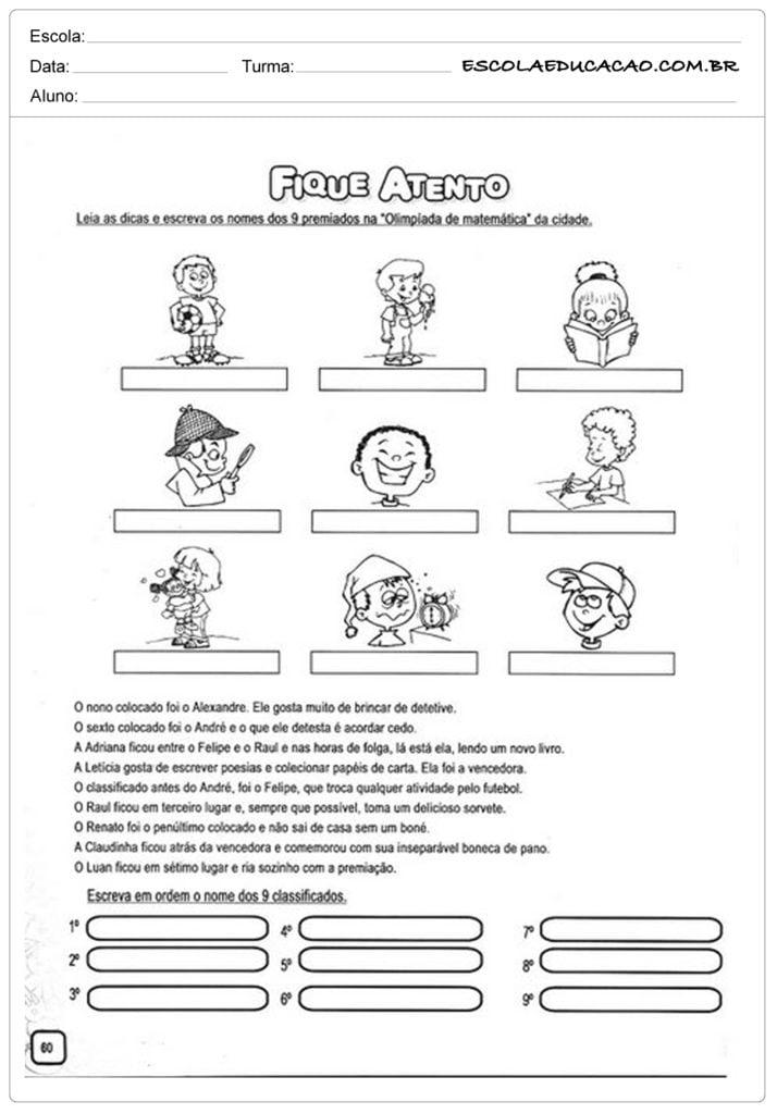 Atividades números ordinais 3º ano ensino fundamental - Fique atento