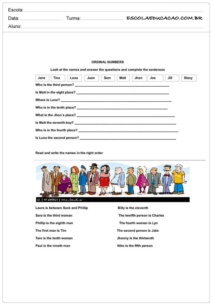 Atividades de números ordinais em inglês - Complete as sentenças