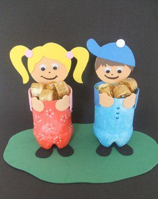Projeto dia das crianças - Potinhos reciclado com doces
