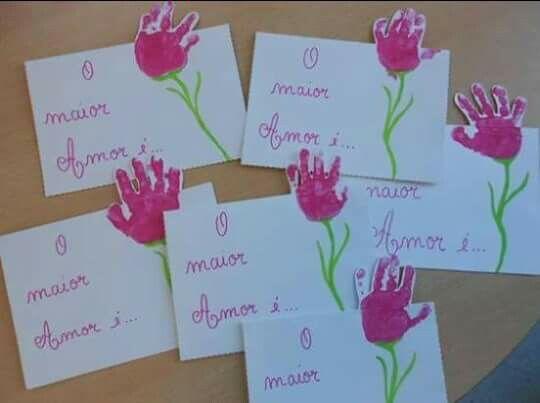 Projeto dia das mães - Cartão com mãozinha