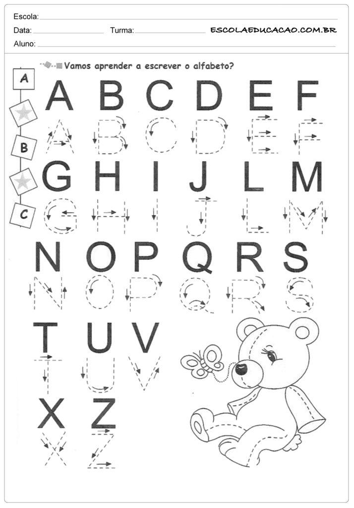 Alfabeto pontilhado vamos aprender