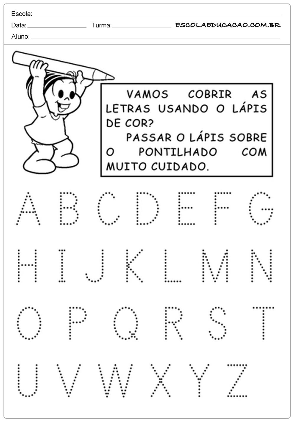 Alfabeto Pontilhado Vamos Cobrir As Letras Escola Educacao