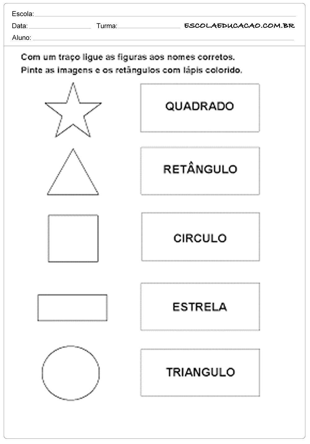 Atividades com formas geométricas ligue as-figuras