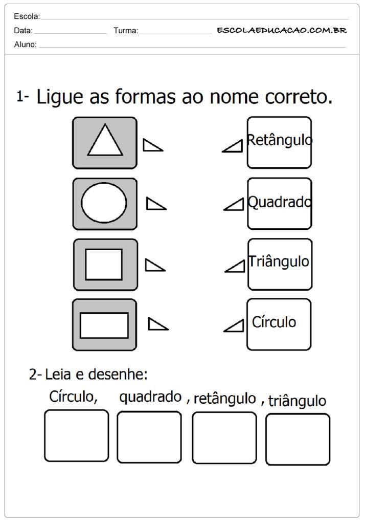 Atividades com formas geométricas ligue as formas