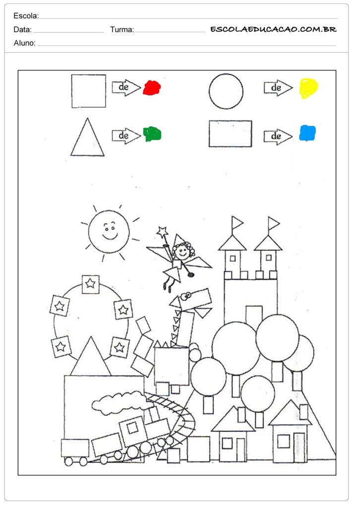 Atividades com formas geométricas pinte
