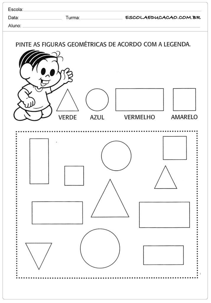 Atividades com formas geométricas-pinte as figuras geométricas