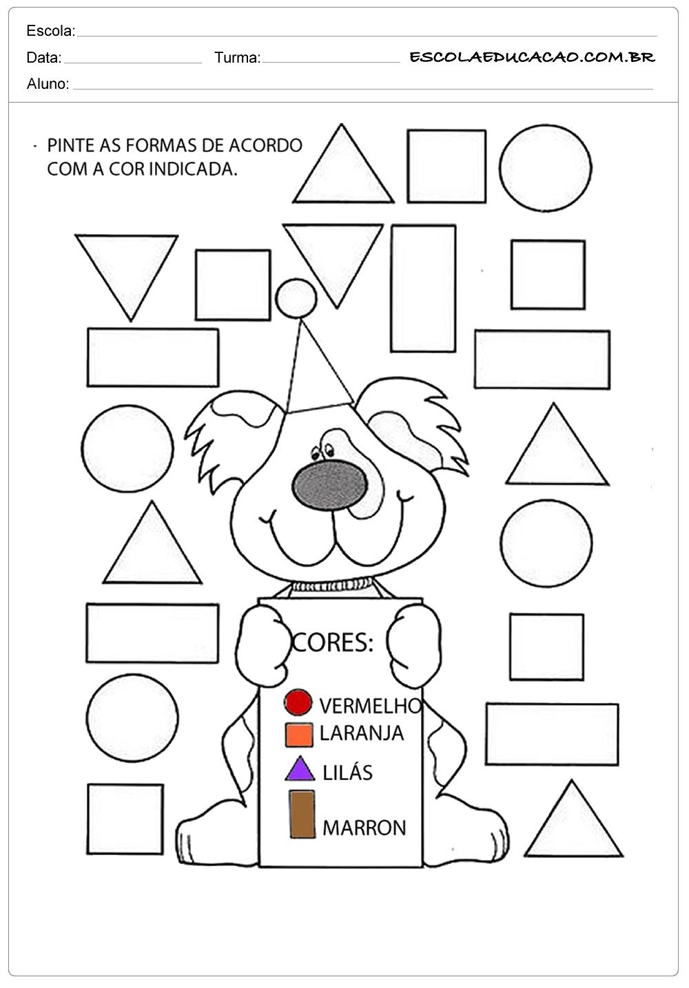 Atividades com formas geométricas pinte as formas de acordo com a cor