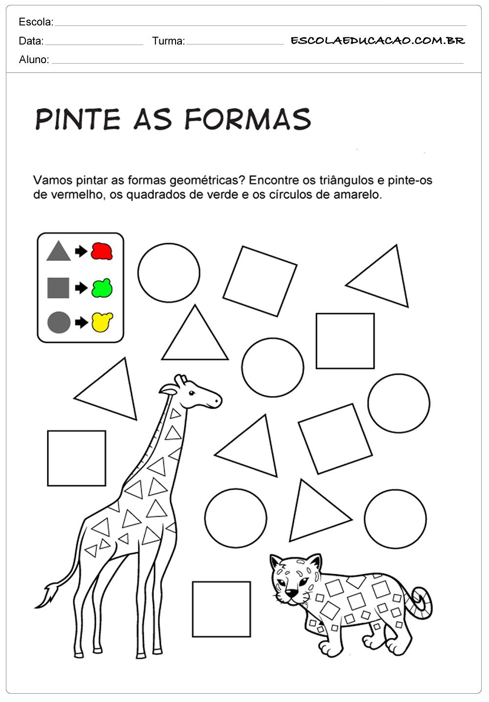 Atividades com formas geométricas pinte as formas