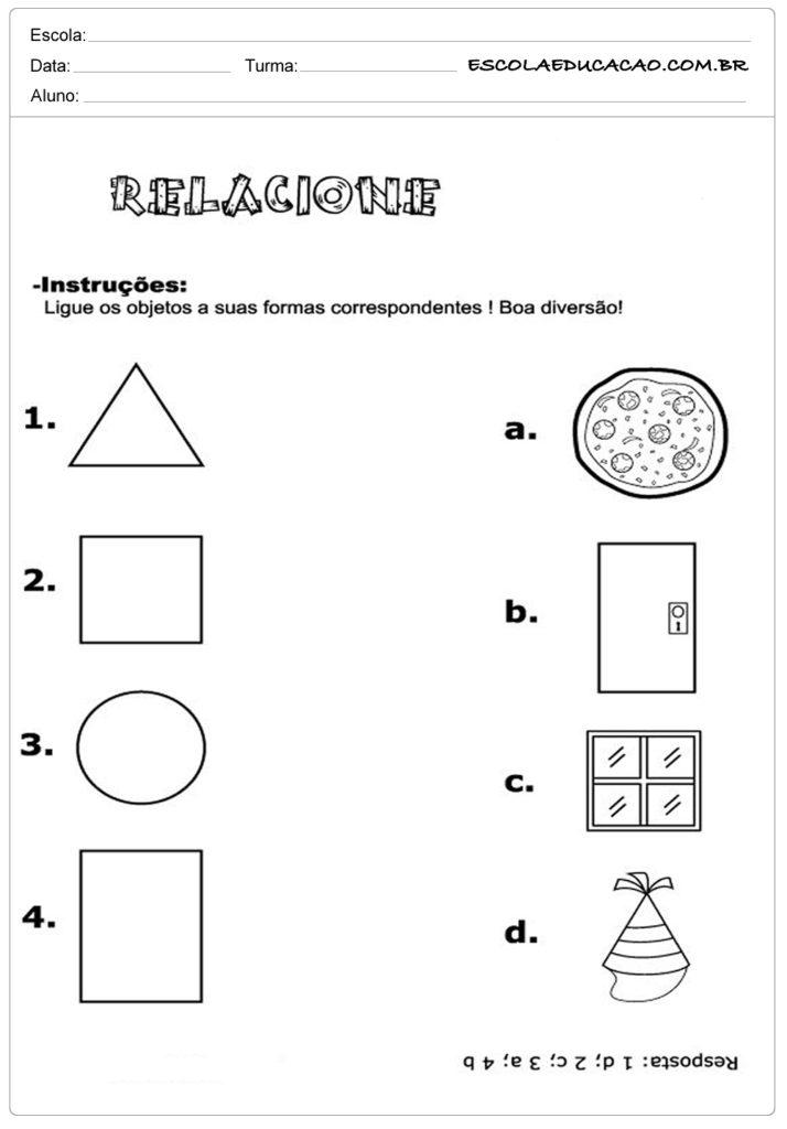 Atividades com formas geométricas relacione