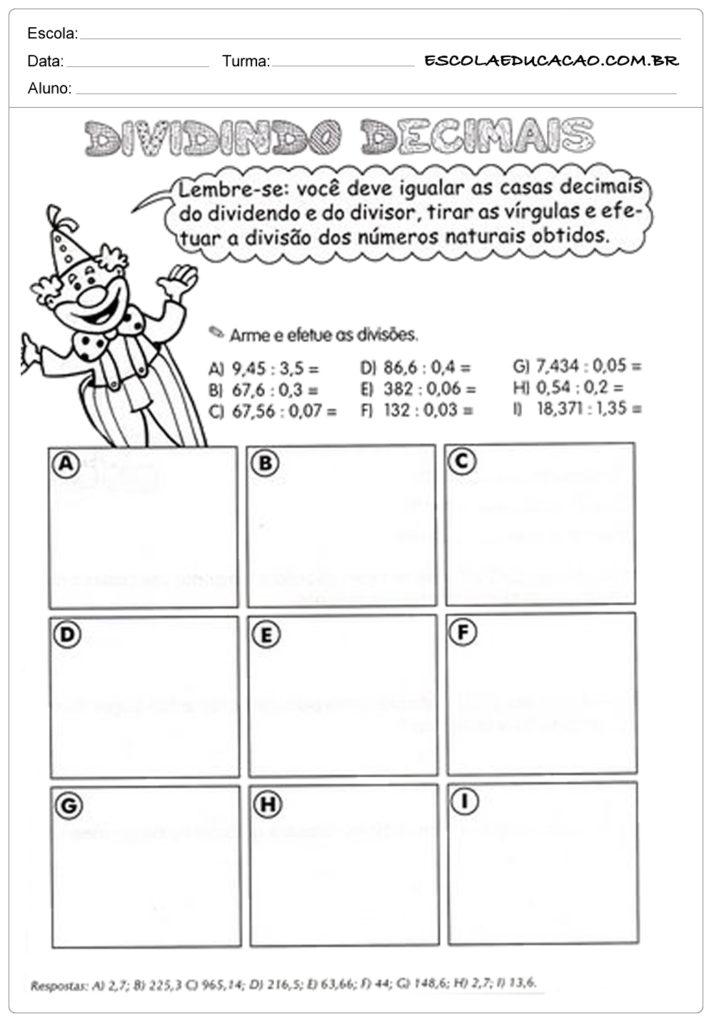 Atividades com números decimais dividindo decimais