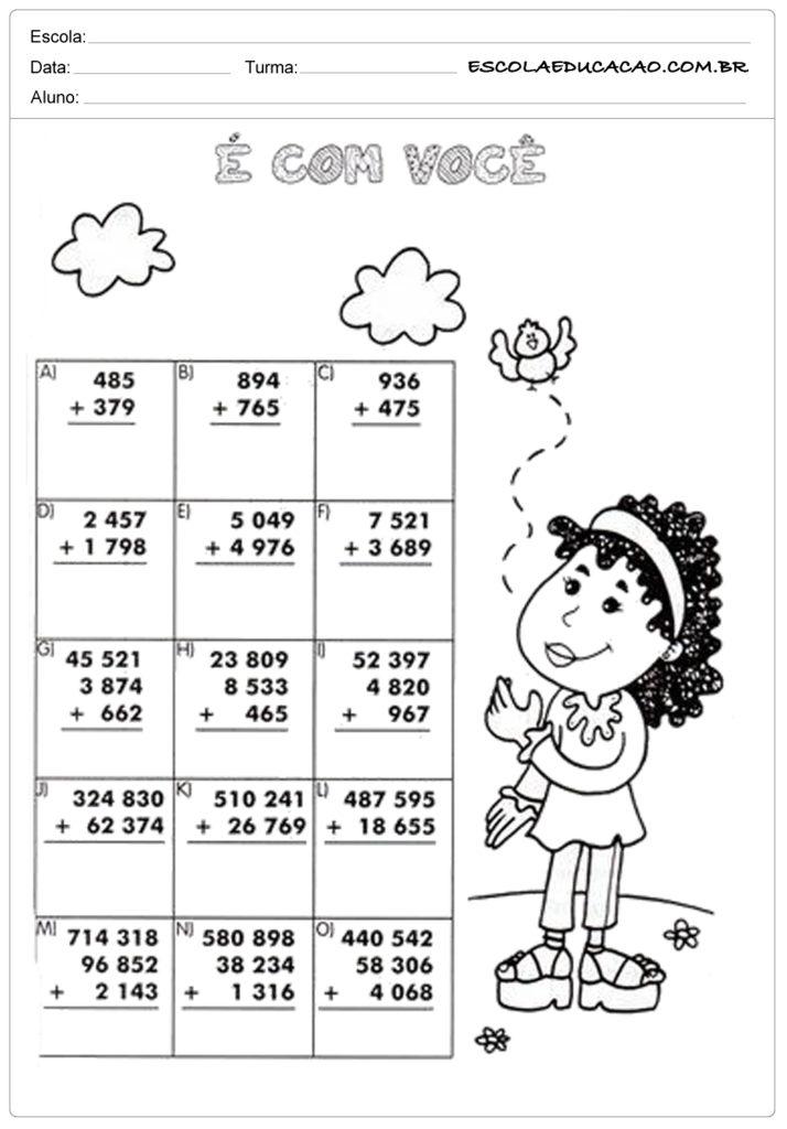 Atividades com números decimais e com você