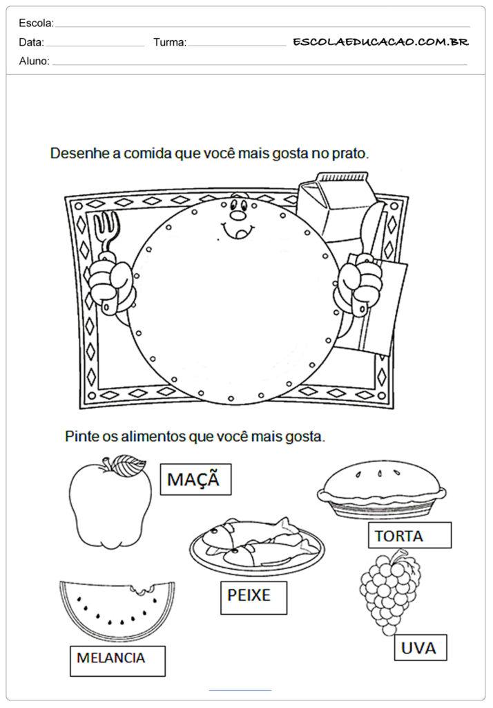 Atividades de alimentação saudável desenhe a comida