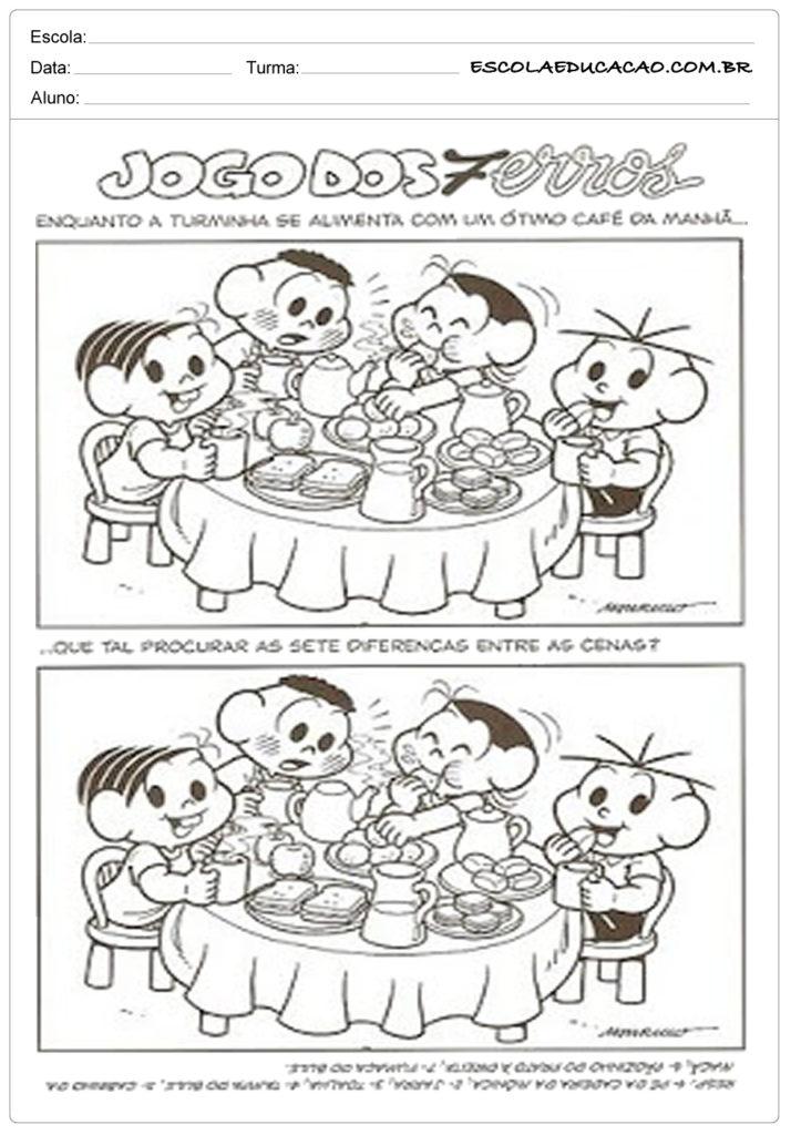 Atividades de alimentação saudável jogo dos 7 erros
