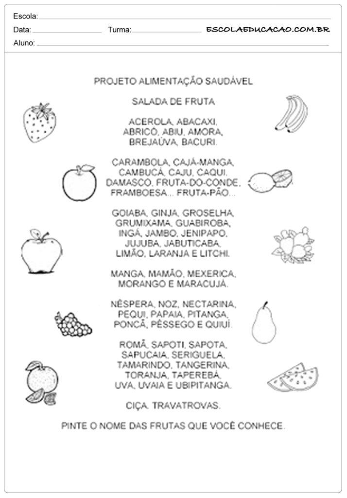 Atividades de alimentação-saudável projeto alimentação saudável