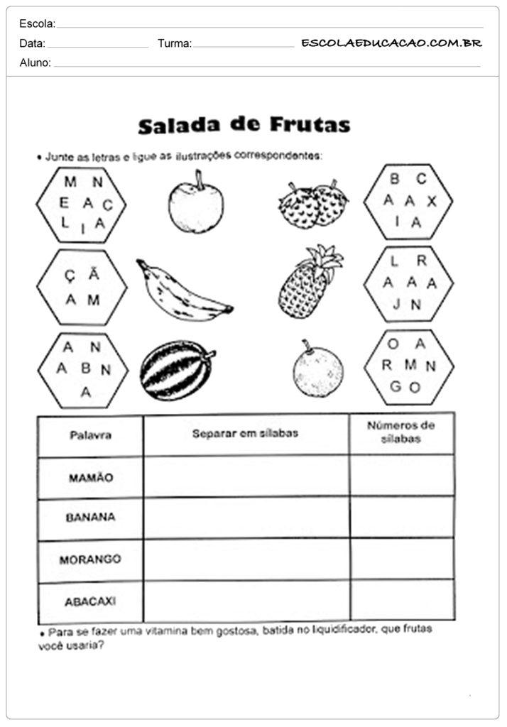 Atividades de alimentação saudável salada de frutas