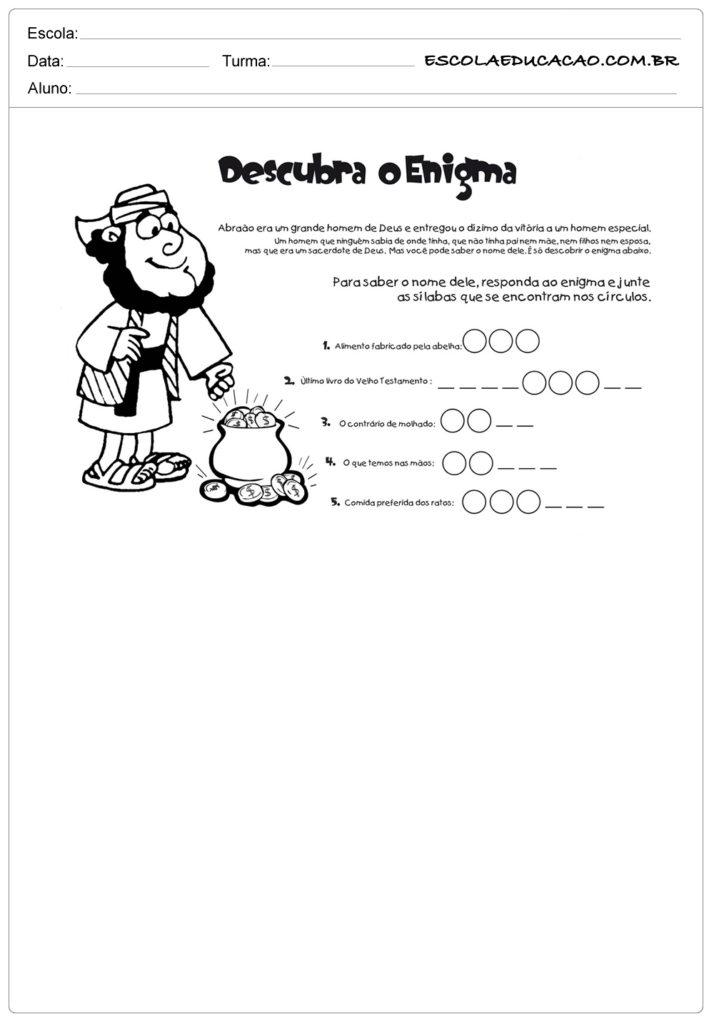 Atividades ensino religioso descubra o enigma