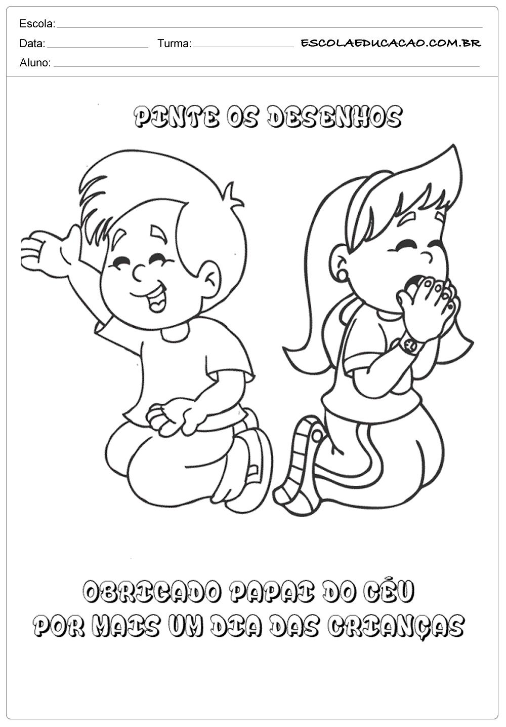 atividades ensino religioso pinte os desenhos escola educação