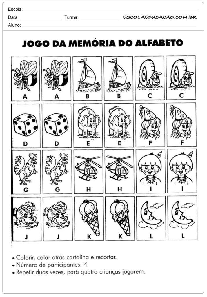Exercícios para memória alfabeto