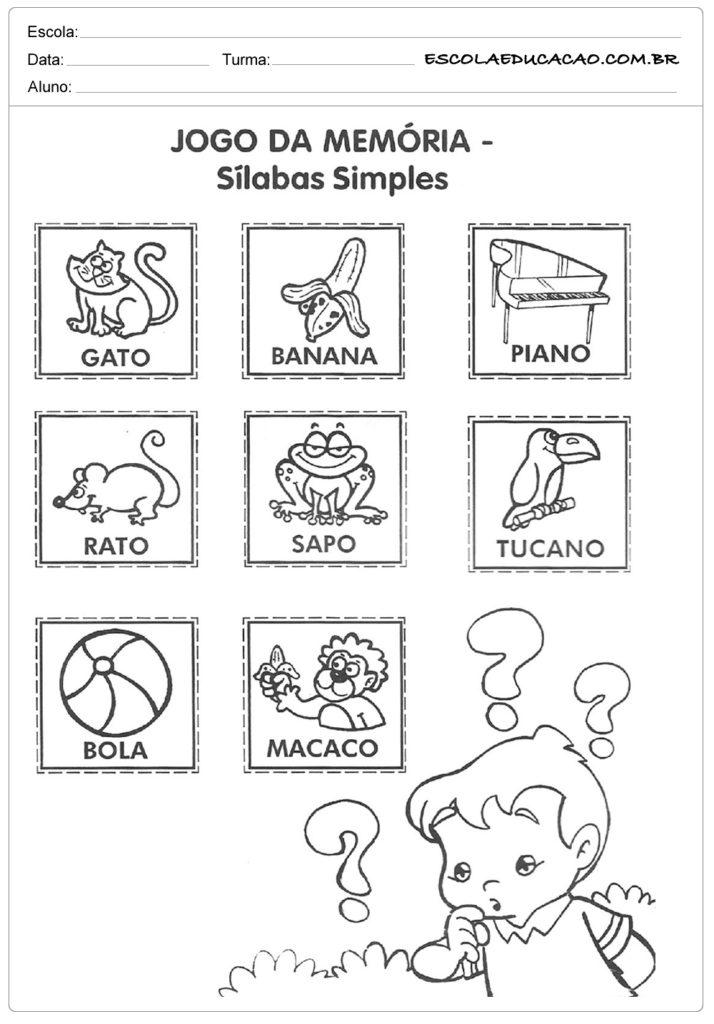 Exercícios para memória silabas