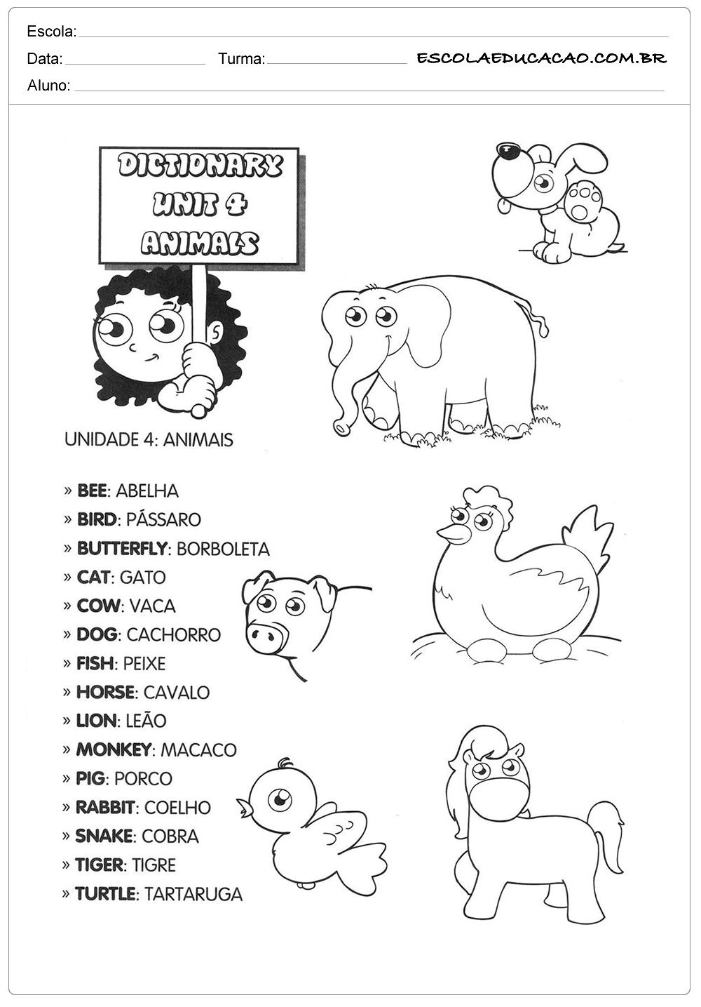 Atividade de inglês de animais