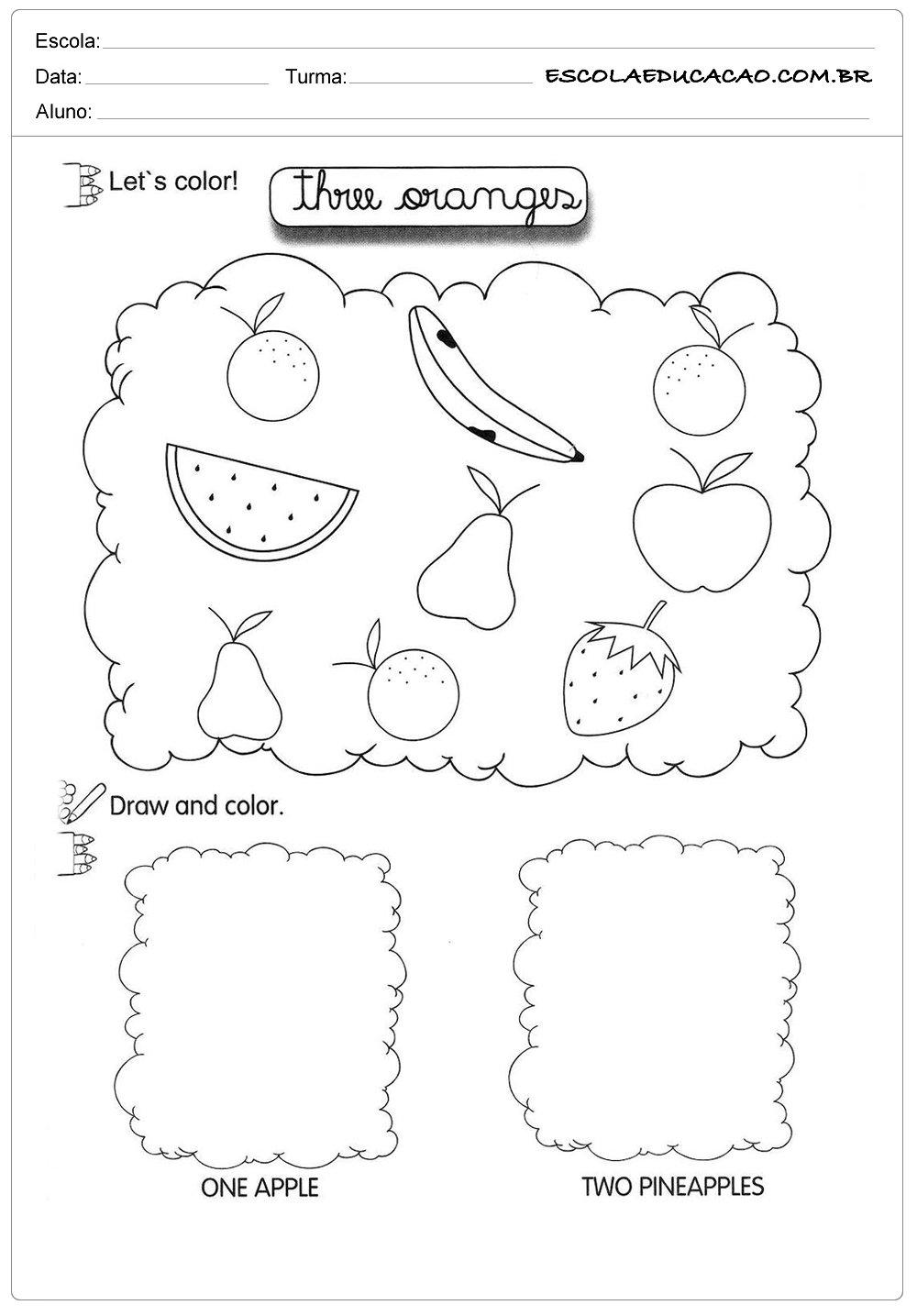 Atividade de inglês frutas