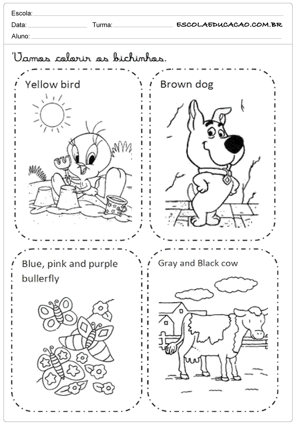 Atividade de inglês para colorir de bichos
