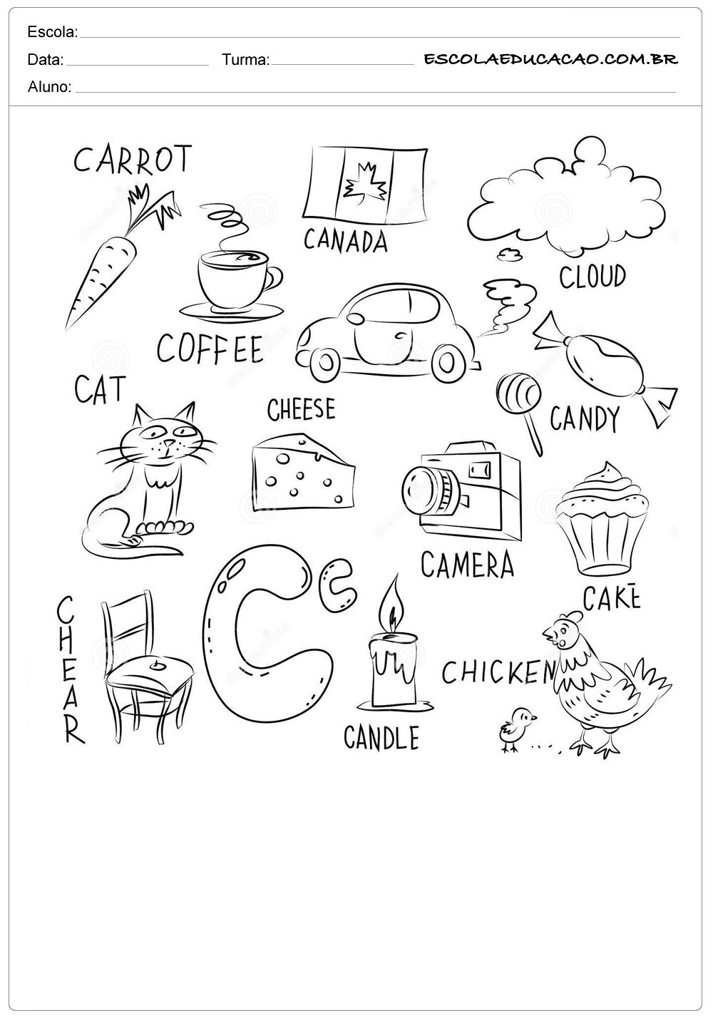 Atividade de inglês para colorir