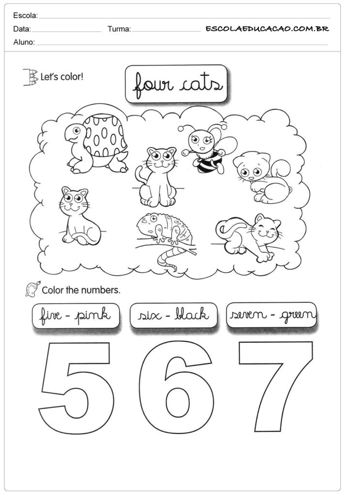 Atividade para colorir de inglês