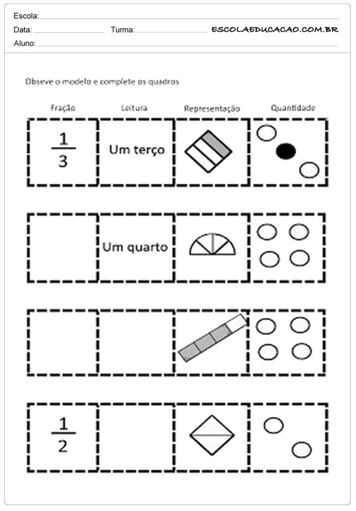 Atividades com frações complete os quadros