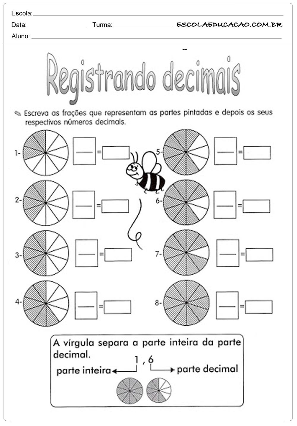 Atividades com frações registrando decimais