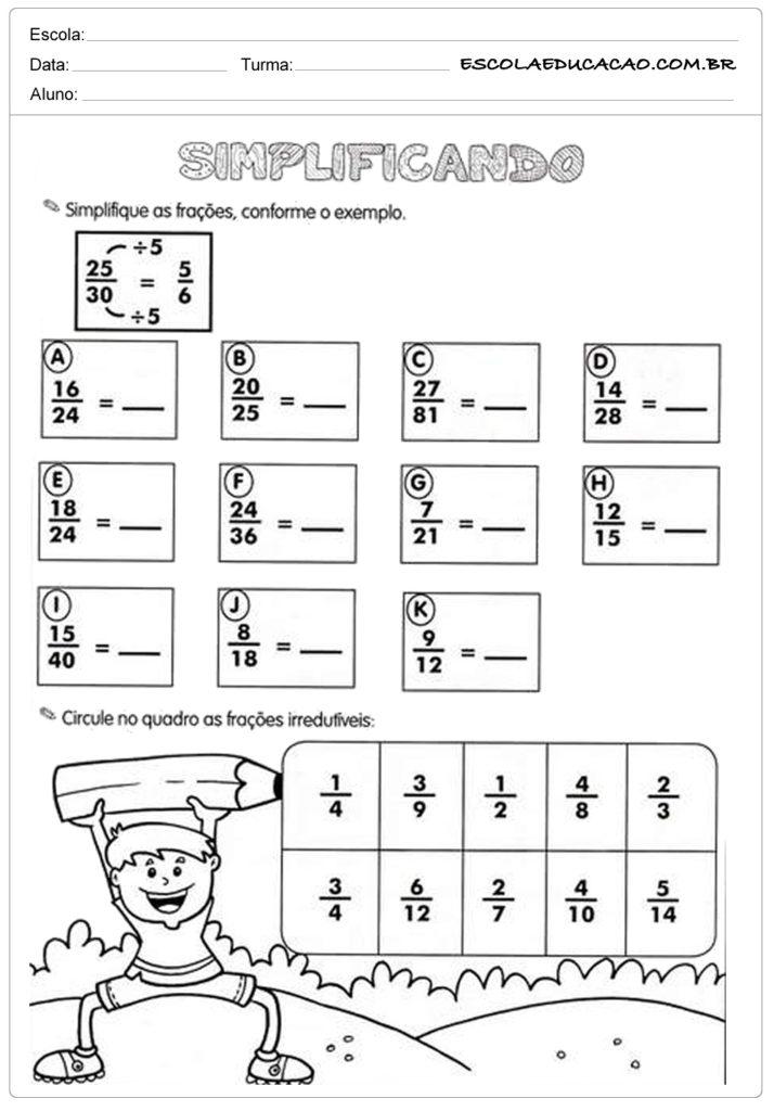 Atividades com frações simplificando