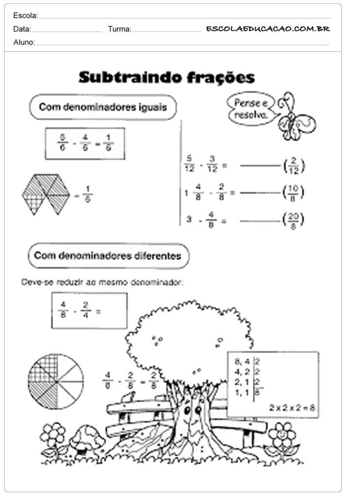 Atividades com frações subtraindo frações