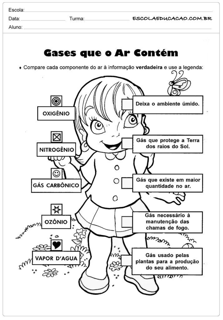 Atividades de ciência gases que o ar contem