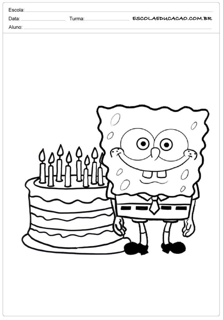 Bob Esponja com bolo
