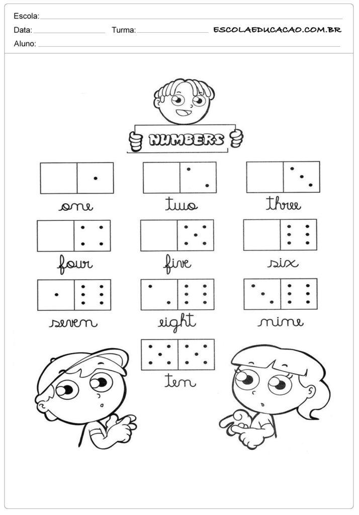 Atividade de inglês criança com numero