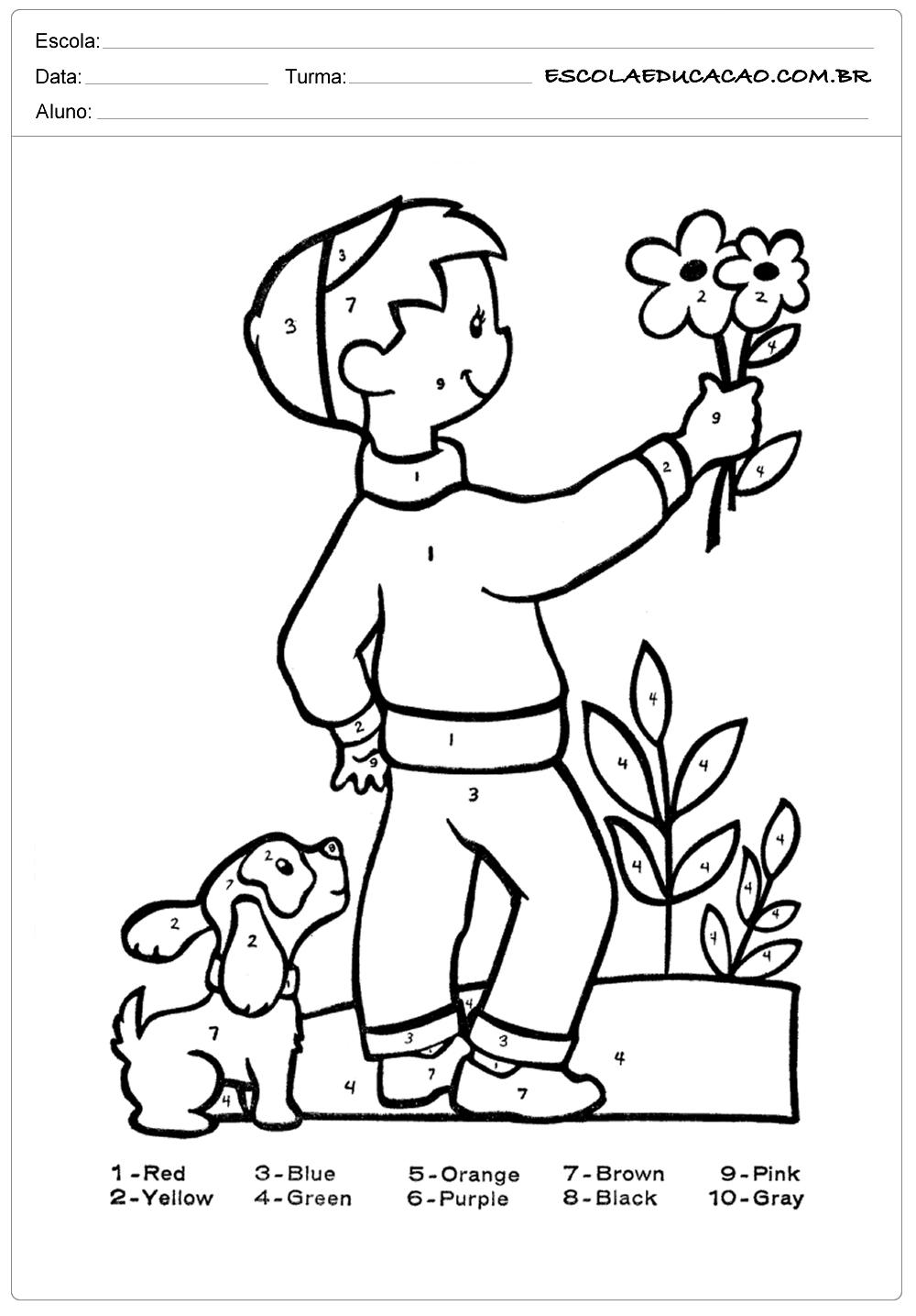 Atividade de inglês criança segurando uma flor