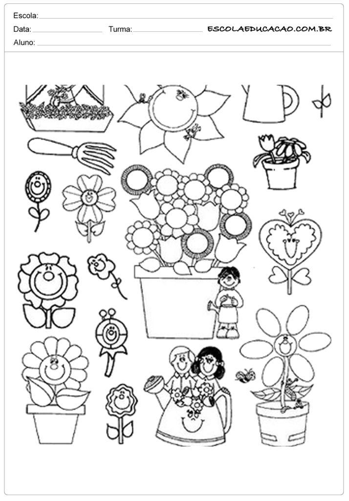 Moldes para primavera com vasos de flores