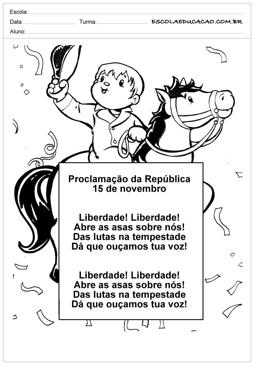 Atividades Proclamação da República 1° ano pinte