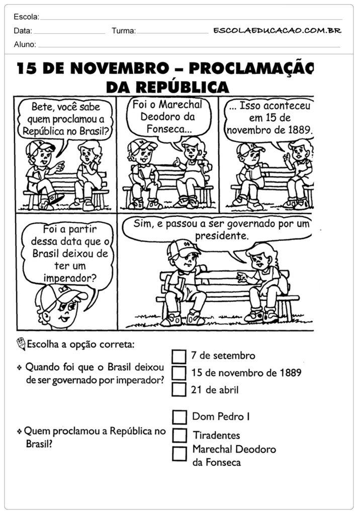 Atividades Proclamação da República 2° ano leia e responda