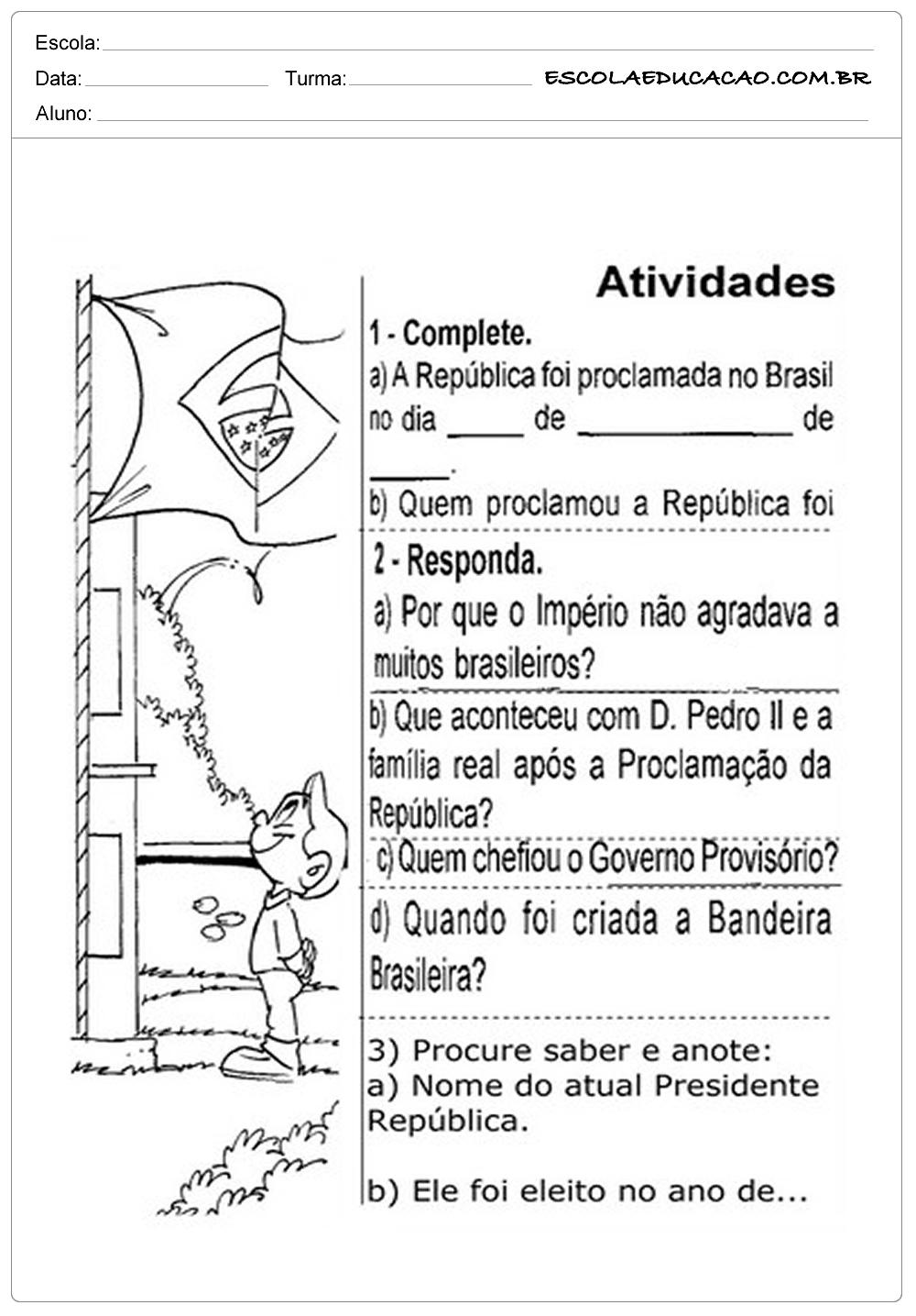 Atividades Proclamação da República 2° ano