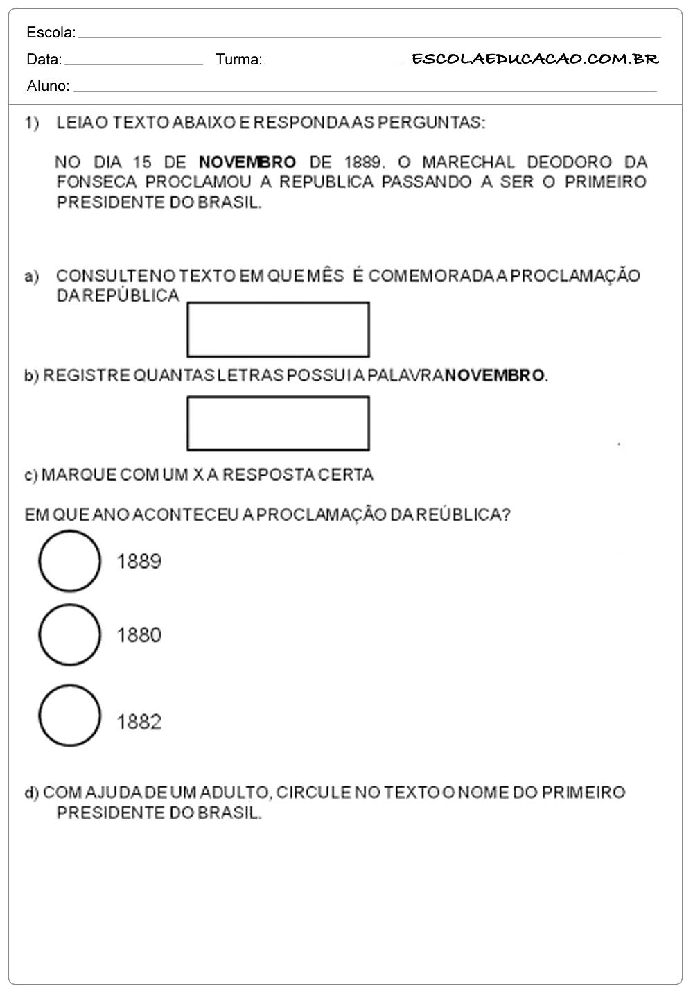 Atividades Proclamação da República 3° ano leia o texto