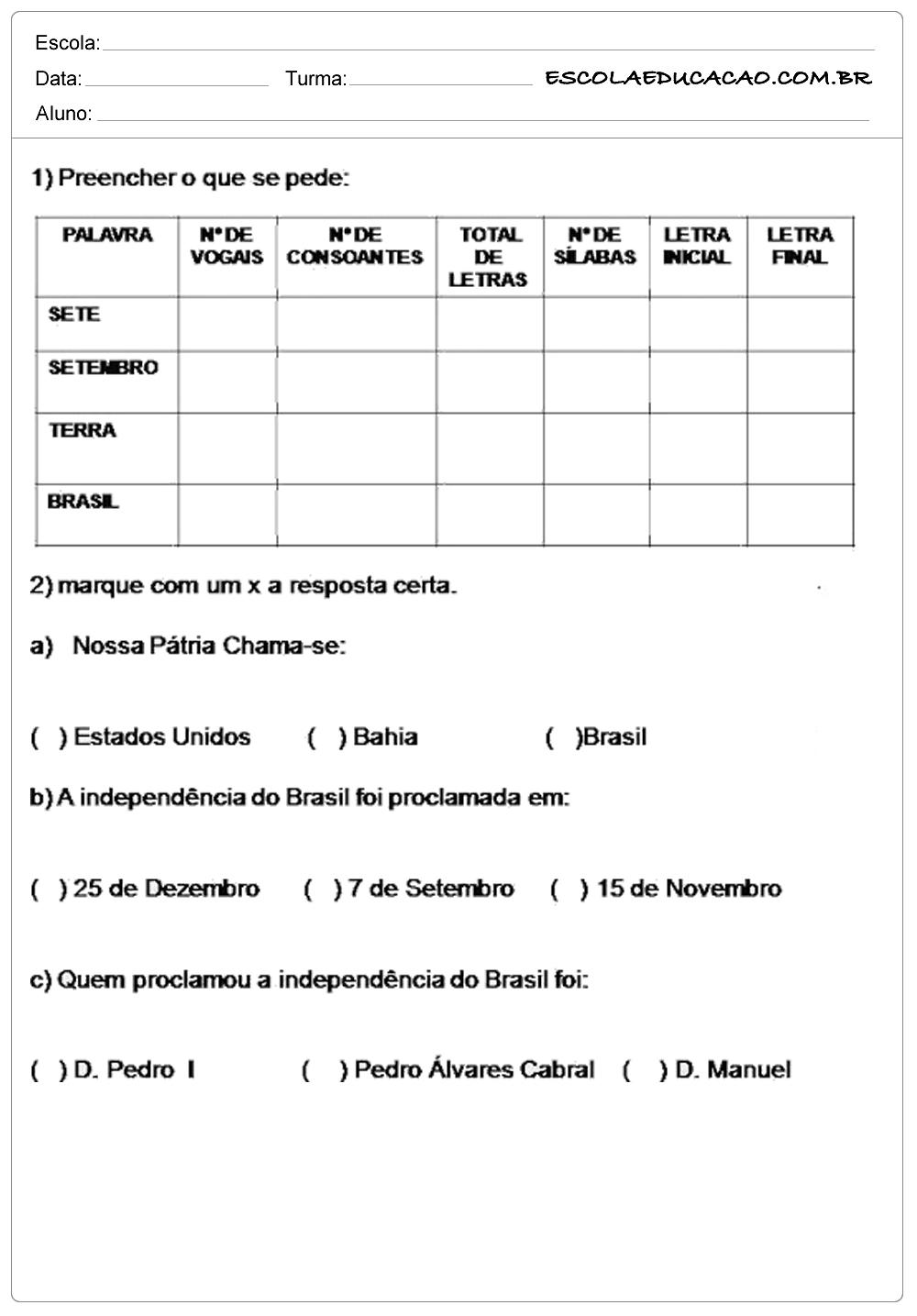 Atividades Proclamação da República 3° ano preencher