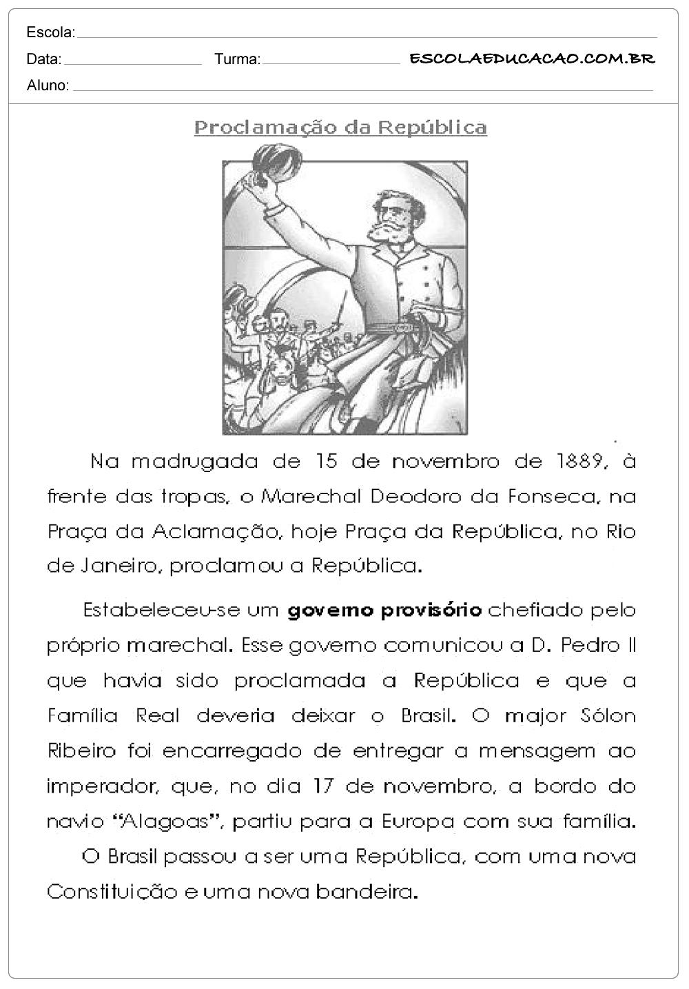 Atividades Proclamação da República 4° ano
