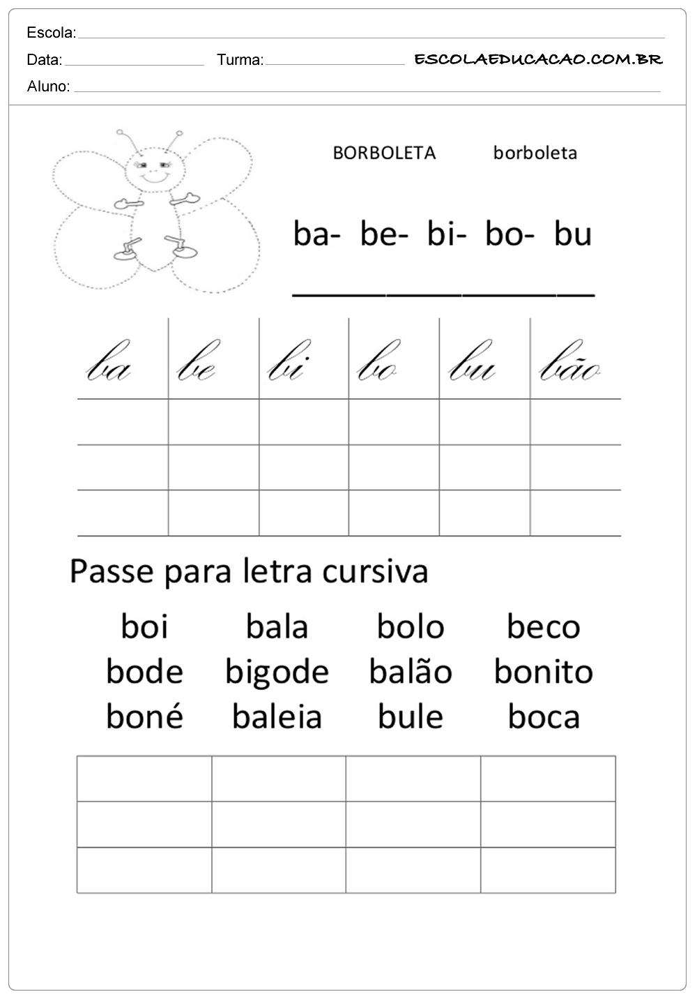 Atividades com letra cursiva para 2º ano borboleta