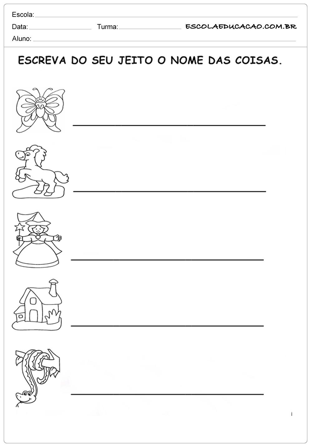 Atividades com letra cursiva para 2º ano escreva