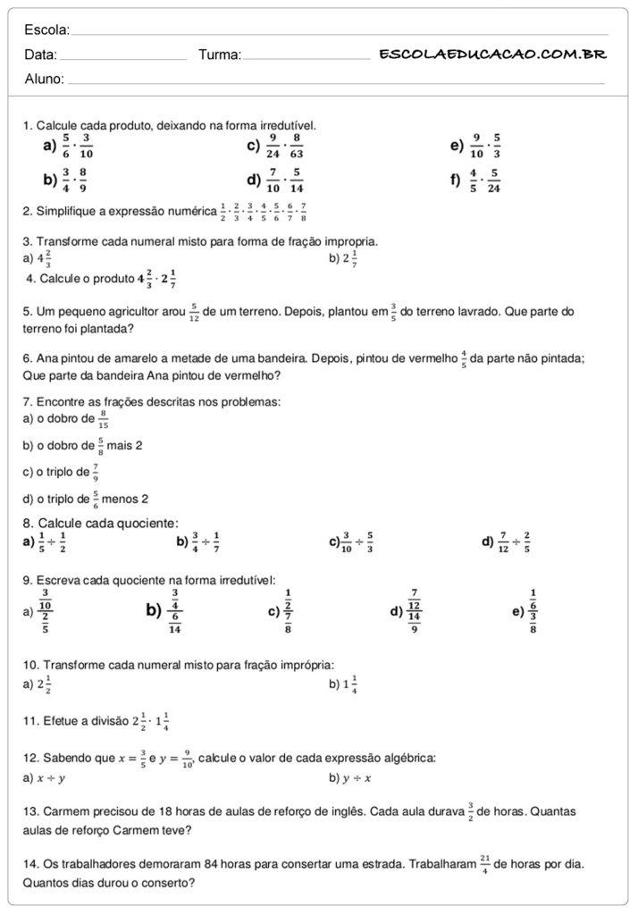 Atividades De Matematica 6º Ano Atividades Educativas Escola Educacao
