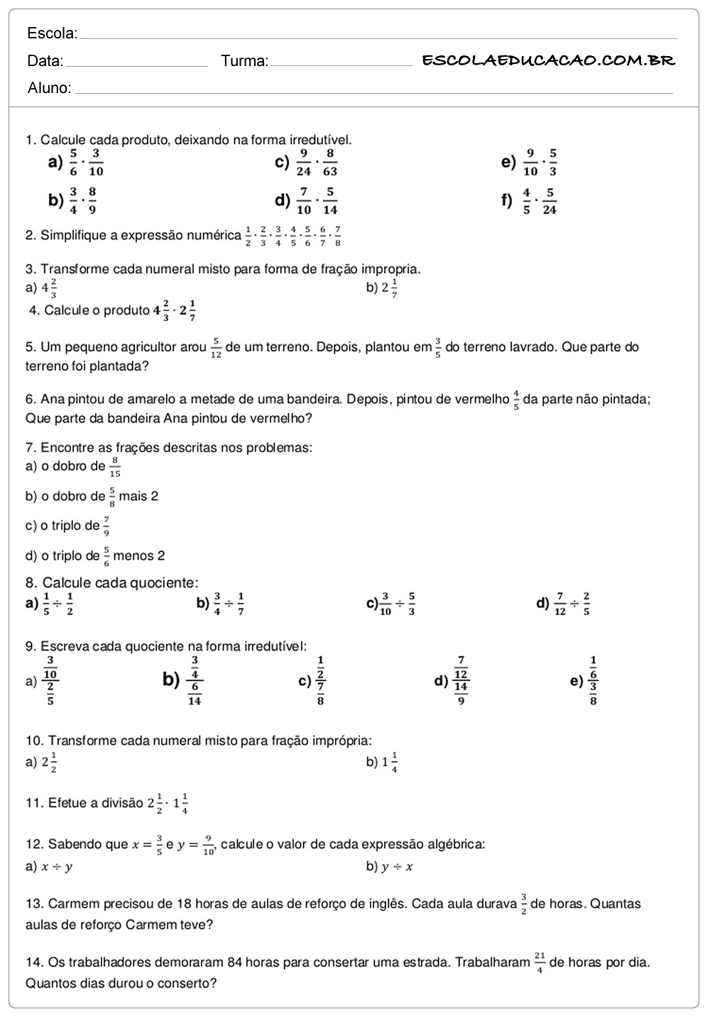 Atividades de Matemática 6º ano calcule