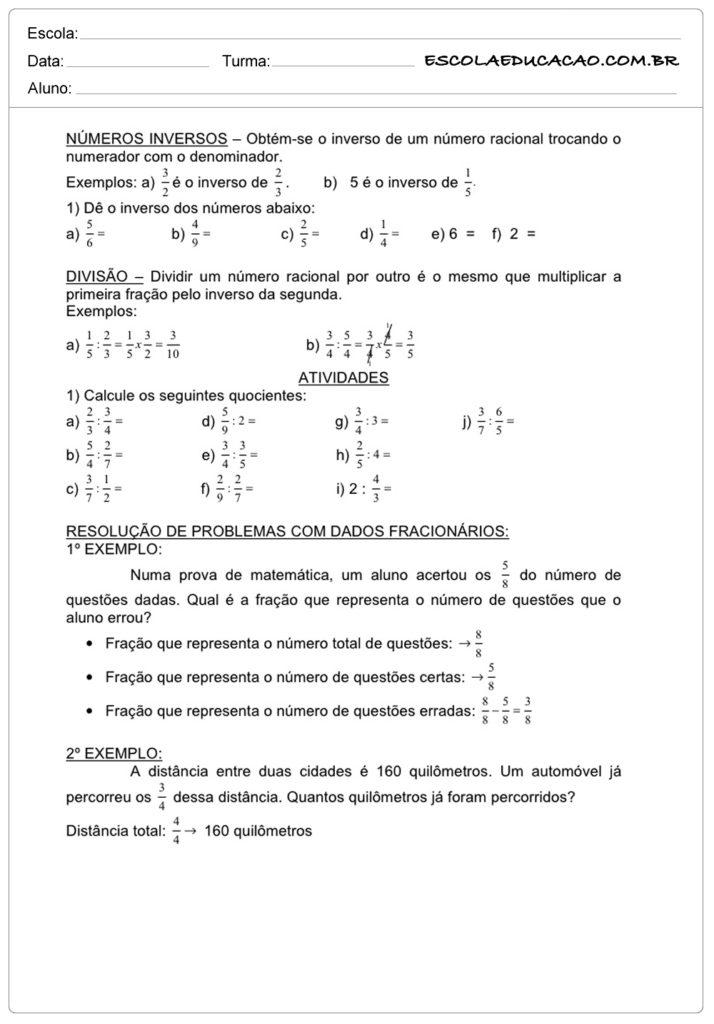Atividades de Matemática 6º ano números inversos