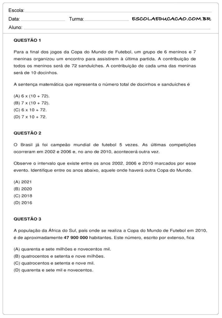 Atividades de Matemática 6º ano questões